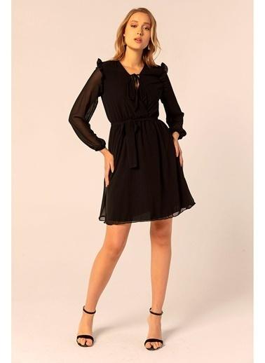 Tiffany&Tomato Omuzları Fırfırlı Şifon Elbise Siyah